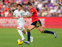 ORLANDO, FL - MARCH 05: Jennifer Hermoso #10 of Spain dribbles during a game between Spain and Japan at Exploria Stadium on March 05, 2020 in Orlando, Florida.