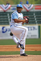Myrtle Beach Pelicans pitcher Joseph Ortiz #24 on the mound during a game vs. the Wilmington Blue Rocks at BB&T Coastal Field in Myrtle Beach, South Carolina on April 10, 2011.   Photo By Robert Gurganus/Four Seam Images