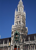 The facade of an old German church. Munich, Germany.