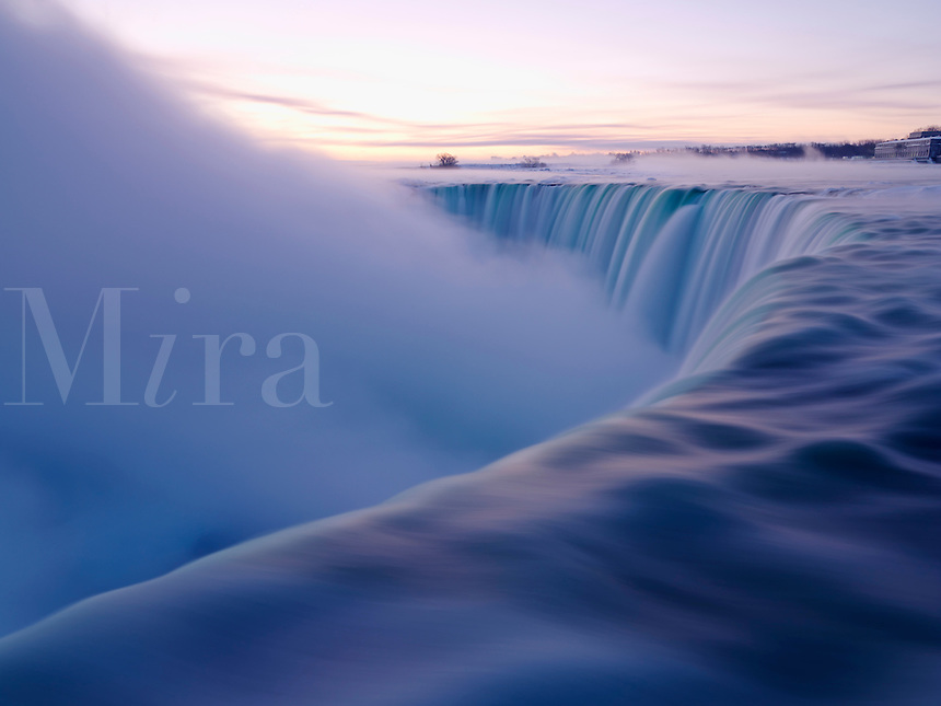Canada, Ontario, Niagara Falls in winter at sunrise