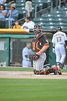 Max Stassi (12) of the Fresno Grizzlies during the game against the Salt Lake Bees in Pacific Coast League action at Smith's Ballpark on June 13, 2015 in Salt Lake City, Utah.  (Stephen Smith/Four Seam Images)