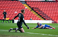 2nd April 2021, Oakwell Stadium, Barnsley, Yorkshire, England; English Football League Championship Football, Barnsley FC versus Reading; Yakou Méïte of Reading misses a first half chance on goal from close in