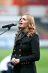 FIFA 2014 World Cup Qualifier - Wales v Croatia - Swansea - 26th March 2013 :  Welsh singer Sophie Evans singing the Welsh national anthem at the start of the game.