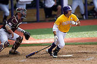 LSU Tigers outfielder Chris Sciambra (5) follows through on his swing during the Southeastern Conference baseball game against the Texas A&M Aggies on April 25, 2015 at Alex Box Stadium in Baton Rouge, Louisiana. Texas A&M defeated LSU 6-2. (Andrew Woolley/Four Seam Images)