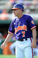 Head Coach Jack Leggett #7 during a  game against the Miami Hurricanes at Doug Kingsmore Stadium on March 31, 2012 in Clemson, South Carolina. The Tigers won the game 3-1. (Tony Farlow/Four Seam Images).