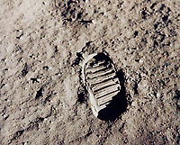 One of the first steps taken on the Moon, this is an image of Buzz Aldrin's bootprint from the Apollo 11 mission. Neil Armstrong and Buzz Aldrin walked on the Moon on July 20, 1969.