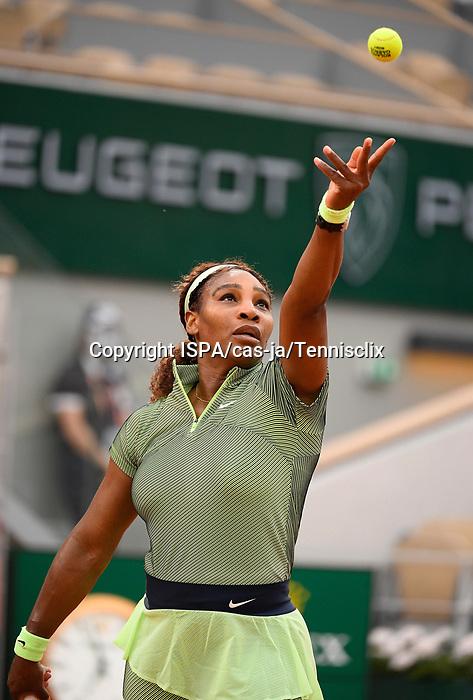 June 2, 2021:  Serena Williams (USA) defeated Michaela Buzarnescu (ROM) 6-3, 5-7, 6-1, at Roland Garros being played at Stade Roland Garros in Paris.  ©ISPA/chr-ja/Tennisclix/CSM