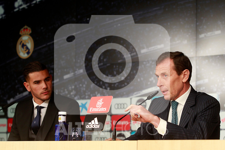 Real Madrid's new player Theo Hernandez (l) withn the Director of Institutional Relations Emilio Butragueno during his official presentation. July 10, 2017. (ALTERPHOTOS/Acero)