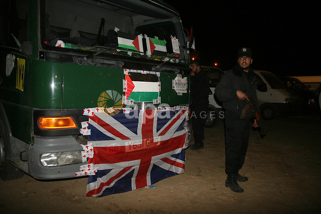 Members of a British aid convoy arrives in the Gaza Strip after crossing the border between Egypt and southern Gaza, on 09 March 2009 in the border town of Rafah. British MP George Galloway arrived in Gaza at the head of an aid convoy to protest what he called Israel's 'genocidal aggression' against the Hamas enclave and support the Palestinian 'resistance'. The staunchly pro-Palestinian parliamentarian said he was 'overwhelmed with happiness' to arrive in Gaza on the birthday of the Muslim prophet Mohammed and in the wake of Israel's massive offensive at the turn of the year.  APAIMAGES PHOTO / Ashraf Amra