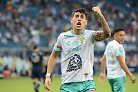 KANSAS CITY, KS - AUGUST 10: Santiago Colombatto #22 Club Leon celebrates his goal during a game between Club Leon and Sporting Kansas City at Children's Mercy Park on August 10, 2021 in Kansas City, Kansas.