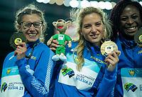 2nd May 2021; Silesian Stadium, Chorzow, Poland; World Athletics Relays 2021. Day 2; Italian women celebrate their gold medals from the 4 x 100 . Irene Siragusa, Anna Bongiorni and Johanelis Herrera Abreu in shot
