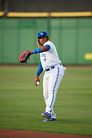 Dunedin Blue Jays third baseman Vladimir Guerrero Jr. (27) warms up before a Florida State League game against the Clearwater Threshers on April 4, 2019 at Spectrum Field in Clearwater, Florida.  Dunedin defeated Clearwater 11-1.  (Mike Janes/Four Seam Images)