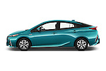 Car driver side profile view of a 2017 Toyota PRIUS PRIME Four 5 Door Hatchback