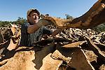 A man sort the cork at the factory in San Bras de Alportel, the Algarve region in Portugal.