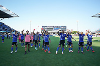 SAN JOSE, CA - AUGUST 8: San Jose Earthquakes celebrate during a game between Los Angeles FC and San Jose Earthquakes at PayPal Park on August 8, 2021 in San Jose, California.
