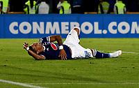 BOGOTÁ - COLOMBIA, 15-08-2018: Ayron del Valle, jugador de Millonarios (COL), reacciona después de fallar jugada de gol contra General Diaz (PAR), durante partido de vuelta entre Millonarios (COL) y General Díaz (PAR), de la segunda fase por la Copa Conmebol Sudamericana 2018, en el estadio Nemesio Camacho El Campin, de la ciudad de Bogotá. / Ayron del Valle, player of Millonarios (COL), reacts after missing a goal to General Diaz (PAR), during a match of the second leg between Millonarios (COL) and General Diaz (PAR), of the second phase for the Conmebol Sudamericana Cup 2018 in the Nemesio Camacho El Campin stadium in Bogota city. VizzorImage / Luis Ramirez / Staff.