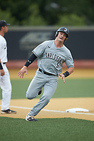 Brett Centracchio (5) of the Davidson Wildcats rounds third base during the game against the Wake Forest Demon Deacons at David F. Couch Ballpark on May 7, 2019 in  Winston-Salem, North Carolina. The Demon Deacons defeated the Wildcats 11-8. (Brian Westerholt/Four Seam Images)