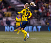 COLUMBUS, OH - NOVEMBER 07: Sofia Jakobsson #10 of Sweden controls the ball during a game between Sweden and USWNT at Mapfre Stadium on November 07, 2019 in Columbus, Ohio.