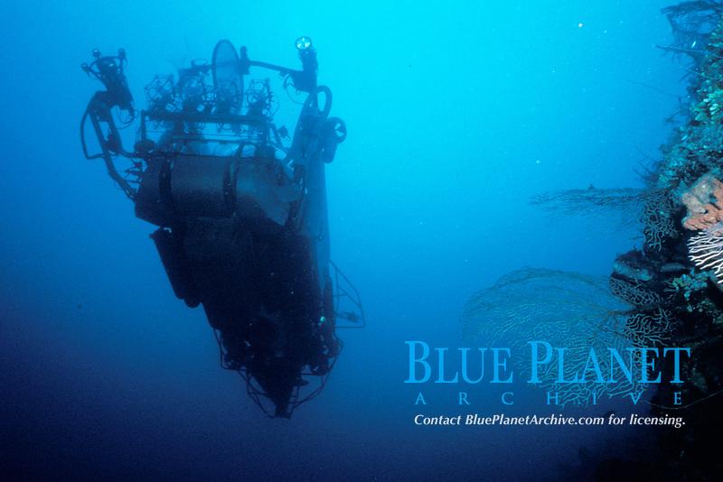 Harbor Branch Oceanographic Institue's two man submarine, Johnson Sea Link II, underway, passing through a colorful coral reef, Bahamas, Caribbean, Atlantic