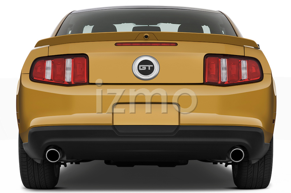 Straight rear view of a 2010 Ford Mustang Coupe GT Premium