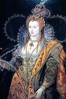 Visual Arts:  Elizabeth I, Portrait by Isaac Oliver, c. 1600. (The Rainbow Portrait)