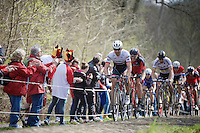 Fabian Cancellara (SUI/Trek-Segafredo) in the infamous Trouée d'Arenberg / Wallers Forest (2.4km), followed closely by Daniel Oss (ITA/BMC) & World Champion Peter Sagan (SVK/Tinkoff)<br /> <br /> 114th Paris-Roubaix 2016