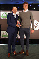 Pictured: Alfie Mawson (R) receives an award Wednesday 18 May 2017<br /> Re: Swansea City FC, Player of the Year Awards at the Liberty Stadium, Wales, UK.