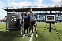 SAN JOSE, CA - SEPTEMBER 29: Anibal Godoy #20 of the San Jose Earthquakes is honored prior to a Major League Soccer (MLS) match between the San Jose Earthquakes and the Seattle Sounders on September 29, 2019 at Avaya Stadium in San Jose, California.