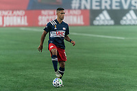 FOXBOROUGH, MA - SEPTEMBER 02: Brandon Bye #15 of New England Revolution looks to pass during a game between New York City FC and New England Revolution at Gillette Stadium on September 02, 2020 in Foxborough, Massachusetts.