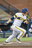 Michigan Wolverines designated hitter Carmen Benedetti (43) follows through on his swing against the Bowling Green Falcons on April 6, 2016 at Ray Fisher Stadium in Ann Arbor, Michigan. Michigan defeated Bowling Green 5-0. (Andrew Woolley/Four Seam Images)