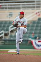 Hickory Crawdads starting pitcher Ariel Jurado (19) in action against the Kannapolis Intimidators at CMC-Northeast Stadium on April 17, 2015 in Kannapolis, North Carolina.  The Crawdads defeated the Intimidators 9-5 in game one of a double-header.  (Brian Westerholt/Four Seam Images)
