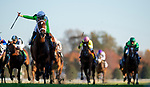 November 6, 2020: Aunt Pearl, ridden by Florent Geroux, wins the Juvenile Fillies Turf on Breeders' Cup Championship Friday at Keeneland on November 6, 2020: in Lexington, Kentucky. Alex Evers/Breeders' Cup/Eclipse Sportswire/CSM