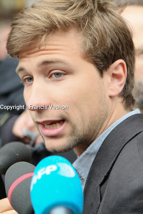 CLASSE spokesperson Gabriel Nadeau Dubois speaks  to the media before a meeting with Quebec education Minister Michelle Courchesne in Quebec City Monday May 28, 2012. The students strike over tuition fee in the province of Quebec is now more than 100 days old and both parties agreed to sit down another time to solve the crisis.<br /> <br /> PHOTO :  Francis Vachon - Agence Quebec Presse