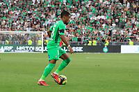 25th September 2021; Saint-Etienne Stade Geoffroy Guichard, France; AS Saint-Etienne versus OGC Nice; Arnaud NORDIN looks to bring the ball forward