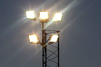 A floodlight in use during Aveley vs AFC Hornchurch, Emirates FA Cup Preliminary Round Football at the Mill Field on 19th August 2016