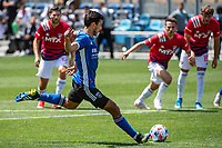 SAN JOSE, CA - APRIL 24: Oswaldo Alanis #4 of the San Jose Earthquakes takes a penalty kick during a game between FC Dallas and San Jose Earthquakes at PayPal Park on April 24, 2021 in San Jose, California.