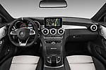 Stock photo of straight dashboard view of a 2018 Mercedes Benz C-Class Coupe AMG C63 S 2 Door Coupe