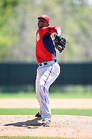 Washington Nationals pitcher Jefry Rodriguez (68) during a minor league spring training game against the Atlanta Braves on March 26, 2014 at Wide World of Sports in Orlando, Florida.  (Mike Janes/Four Seam Images)