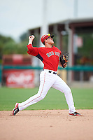 GCL Red Sox shortstop Imeldo Diaz (10) throws to first during the second game of a doubleheader against the GCL Rays on August 9, 2016 at JetBlue Park in Fort Myers, Florida.  GCL Rays defeated GCL Red Sox 9-1.  (Mike Janes/Four Seam Images)