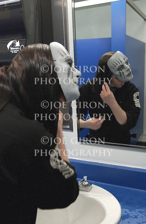 Getting mask and make up ready.
