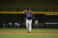 AZL Cubs 2 shortstop Henrry Pedra (12) throws to first base during an Arizona League game against the AZL Rangers at Sloan Park on July 7, 2018 in Mesa, Arizona. AZL Rangers defeated AZL Cubs 2 11-2. (Zachary Lucy/Four Seam Images)