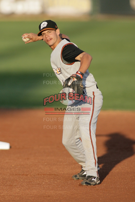 September 1, 2009: Jose Rivera of the Casper Ghosts, Pioneer League Rookie Class A affiliate of the Colorado Rockies, during a game at the Orem Owlz Ballpark in Orem, UT.  Photo by:  Matthew Sauk/Four Seam Images