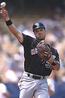 Mike Piazza of the New York Mets during a 2001 season MLB game at Dodger Stadium in Los Angeles, California. (Larry Goren/Four Seam Images)
