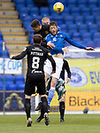 St Johnstone v Livingston…15.05.21  SPFL McDiarmid Park<br />Murray Davidson and Shaun Rooney battle with Jaze Kabia<br />Picture by Graeme Hart.<br />Copyright Perthshire Picture Agency<br />Tel: 01738 623350  Mobile: 07990 594431