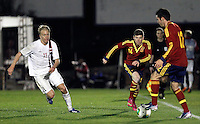 Spain's Alberto Moreno (c), Sarabia (r) and Norway's Nielsen during an International sub21 match. March 21, 2013.(ALTERPHOTOS/Alconada) /NortePhoto