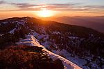 Snow-covered ridgeline at sunset, Kaiser Peak, Kaiser Wilderness Area, Sierra Nevada, California