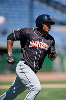 Jupiter Hammerheads right fielder Stone Garrett (11) runs to first base during a game against the Clearwater Threshers on April 11, 2018 at Spectrum Field in Clearwater, Florida.  Jupiter defeated Clearwater 6-4.  (Mike Janes/Four Seam Images)