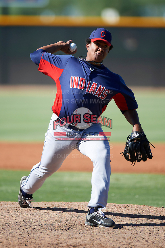 Cleveland Indians minor league pitcher Manuel Carmona #50 during an instructional league game against the Cincinnati Reds at the Goodyear Training Complex on October 8, 2012 in Goodyear, Arizona.  (Mike Janes/Four Seam Images)