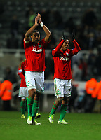 Saturday 17 November 2012<br /> Pictured L-R: Ashley Williams and fellow player Jonathan de Guzman of Swansea thanks away supporters after the final whistle.<br /> Re: Barclay's Premier League, Newcastle United v Swansea City FC at St James' Park, Newcastle Upon Tyne, UK.