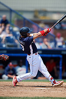 Reading Fightin Phils right fielder Jan Hernandez (3) follows through on a swing during the first game of a doubleheader against the Portland Sea Dogs on May 15, 2018 at FirstEnergy Stadium in Reading, Pennsylvania.  Portland defeated Reading 8-4.  (Mike Janes/Four Seam Images)
